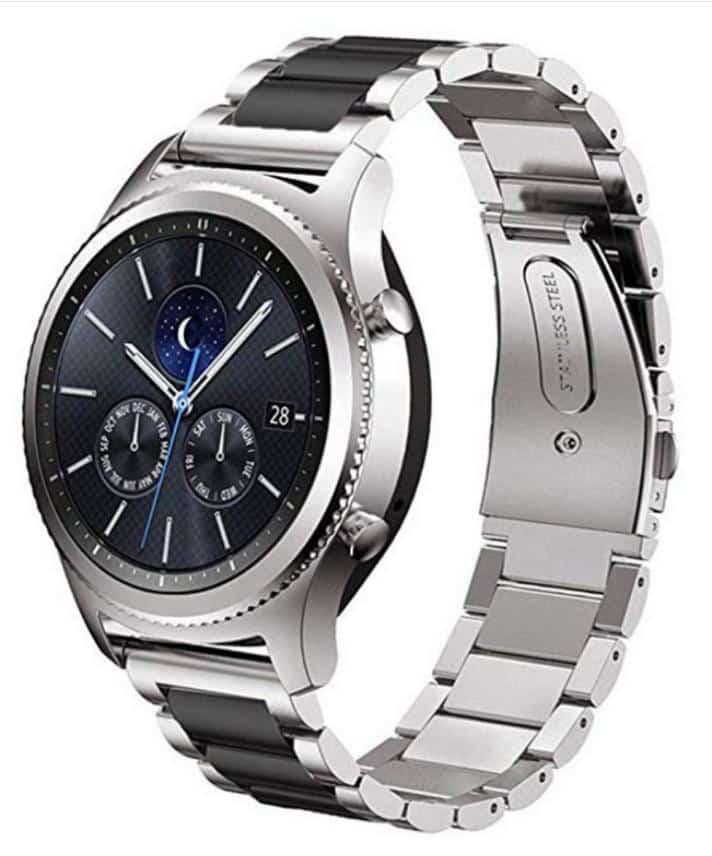 4mobilez Samsung Galaxy Schakelband Zilver met Zwart 46mm en S3 watch