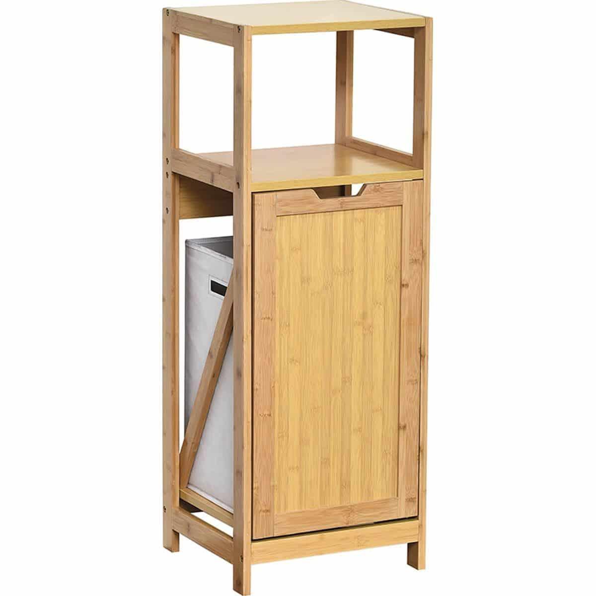 4Goodz Mahe staand badkamerrek 33x36x98 cm met wasmand