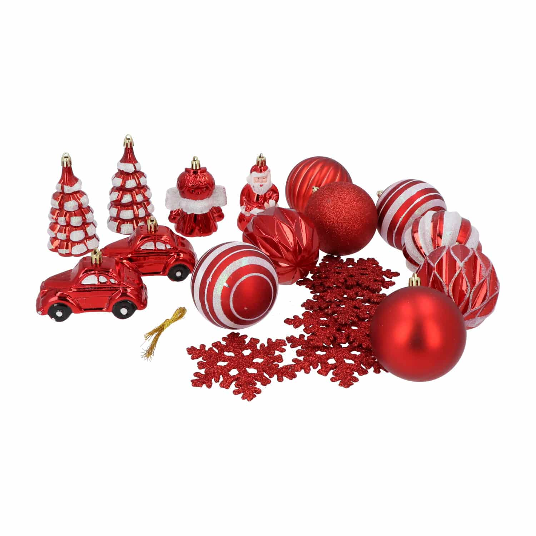 4goodz 20-delige Decoratieve Kerstballenset Rood - binnen/buiten
