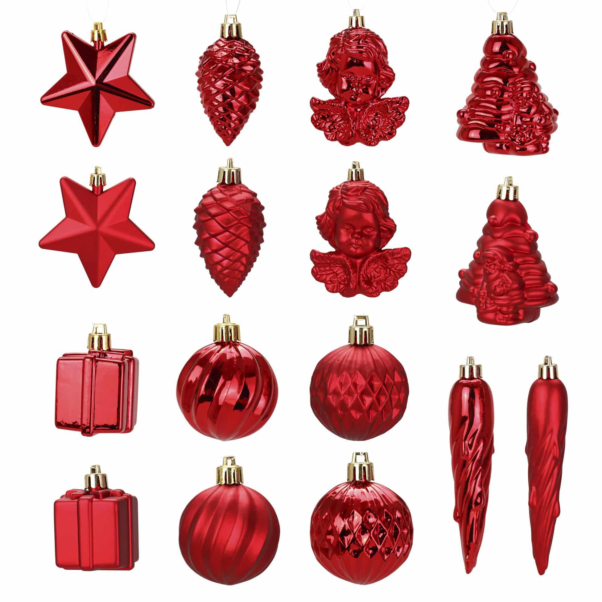 4Goodz 16-delige decoratieve kerstballenset - binnen- en buiten - Rood