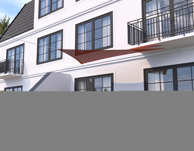 hanSe® Schaduwdoek Driehoek Waterdoorlatend 3x3x4,24 m - Terra