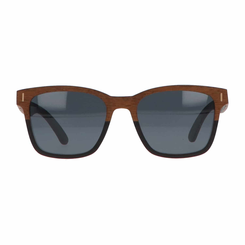 5one® Slim Line Walnut 2-tone - Walnoot hout Wayfarer zonnebril grijs
