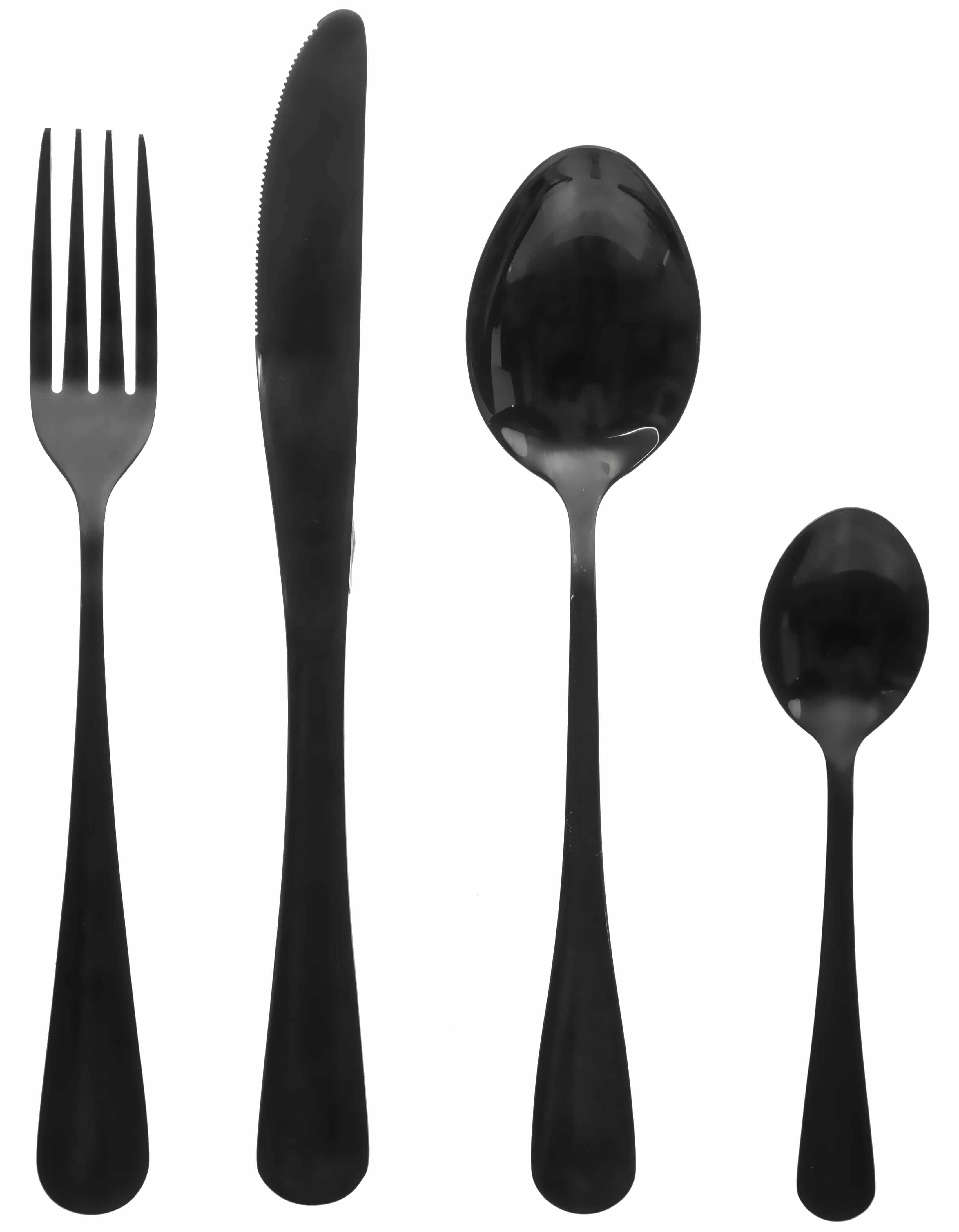 4goodz Bestekset 16-delig Zwart RVS Black Shadow 4 persoons - zwart