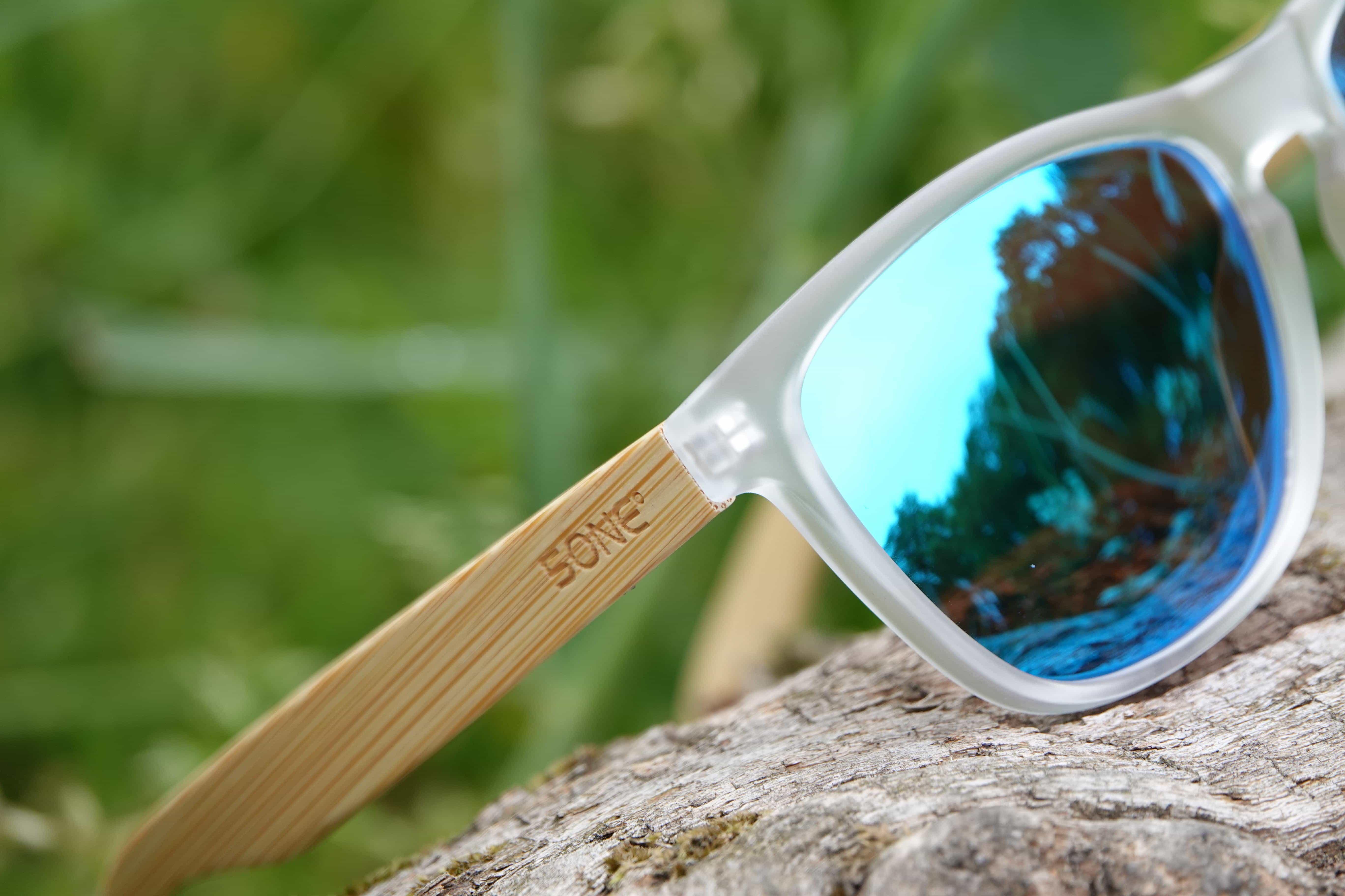 5one® Java Matt Clear Ice Blue - bamboe hout - wayfarer zonnebril