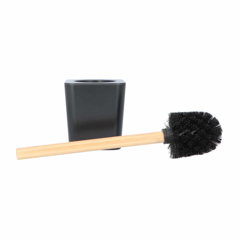 4goodz kunststof Toiletborstel met Bamboe steel - zwart/bruin