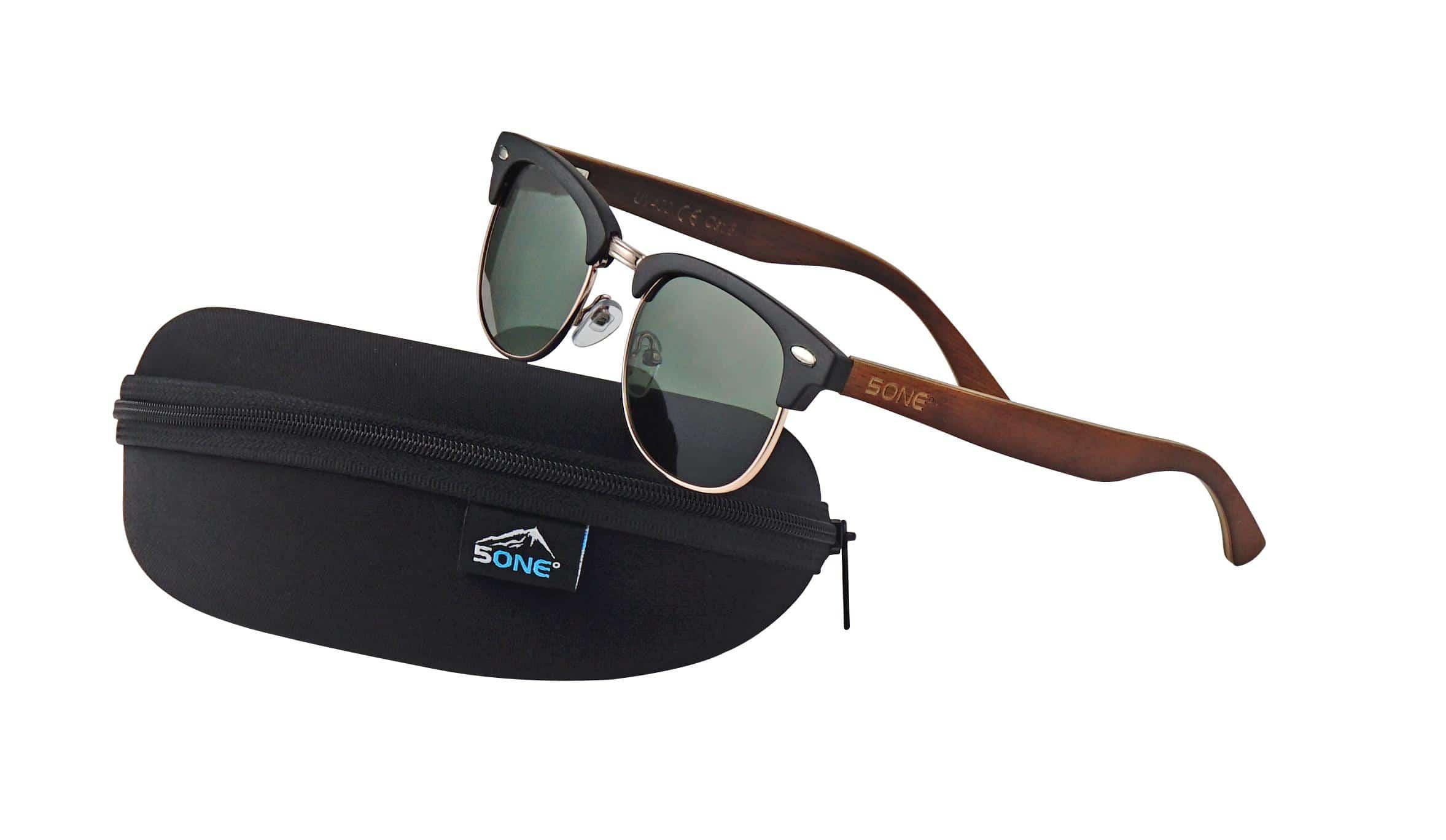 5one® Capri Black - Grijze lens - zwart frame - clubmastermodel