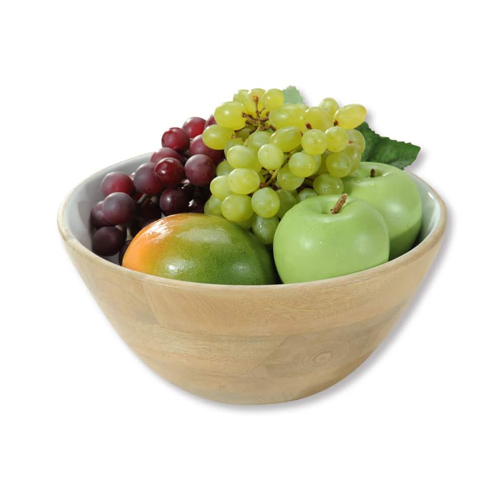 4goodz Fruitschaal Saladeschaal mangohout 26,5x12cm - bruin/wit