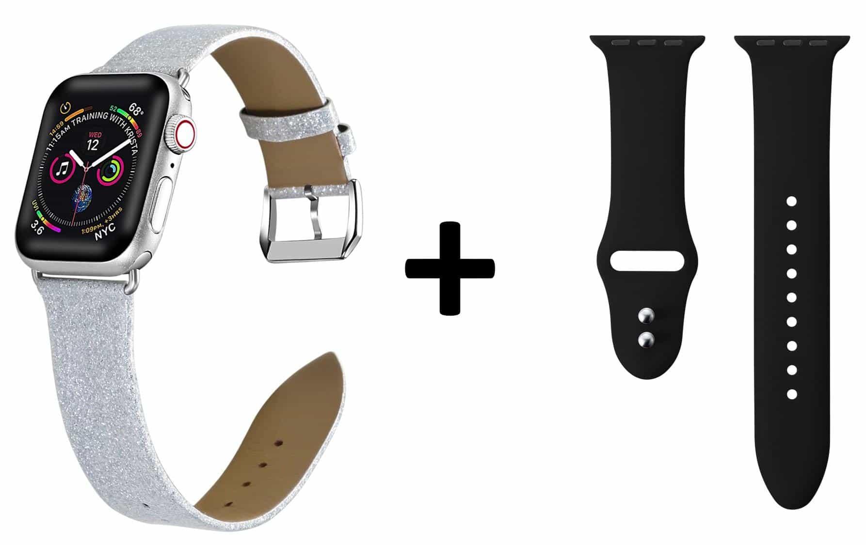 4mobilez 2x Iwatch bandjes Leer en Glitter 42/44 mm - Iwatch 1/2/3/4/5