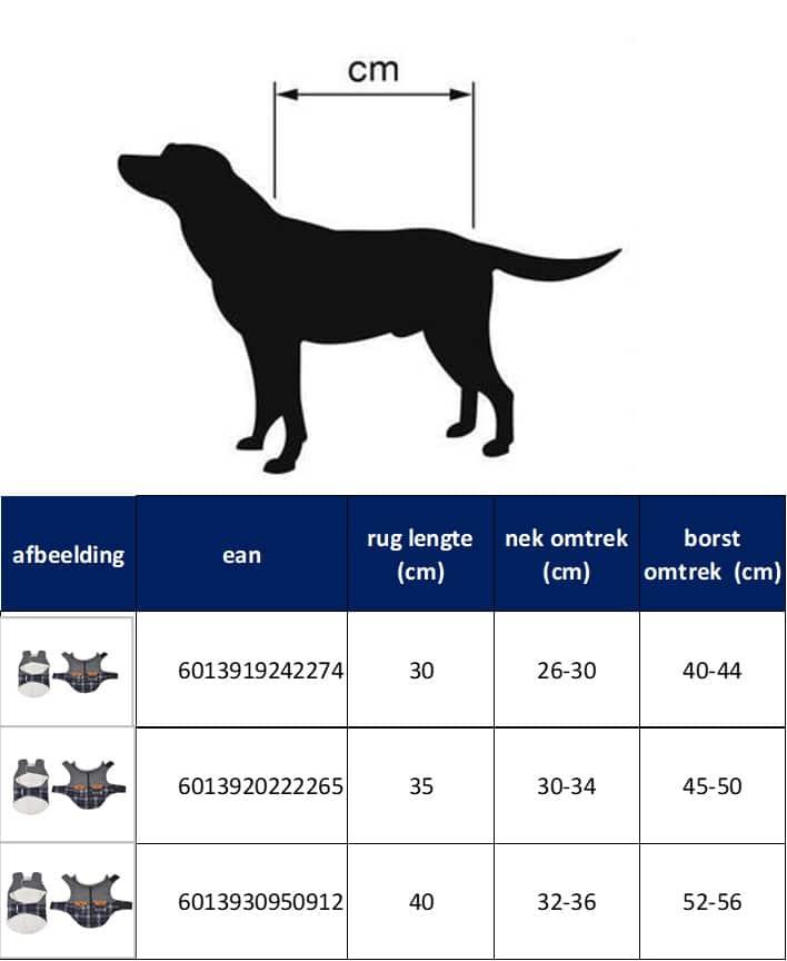 4Goodz warme geruiten winter hondenjas van fleece 30 cm - Blauw