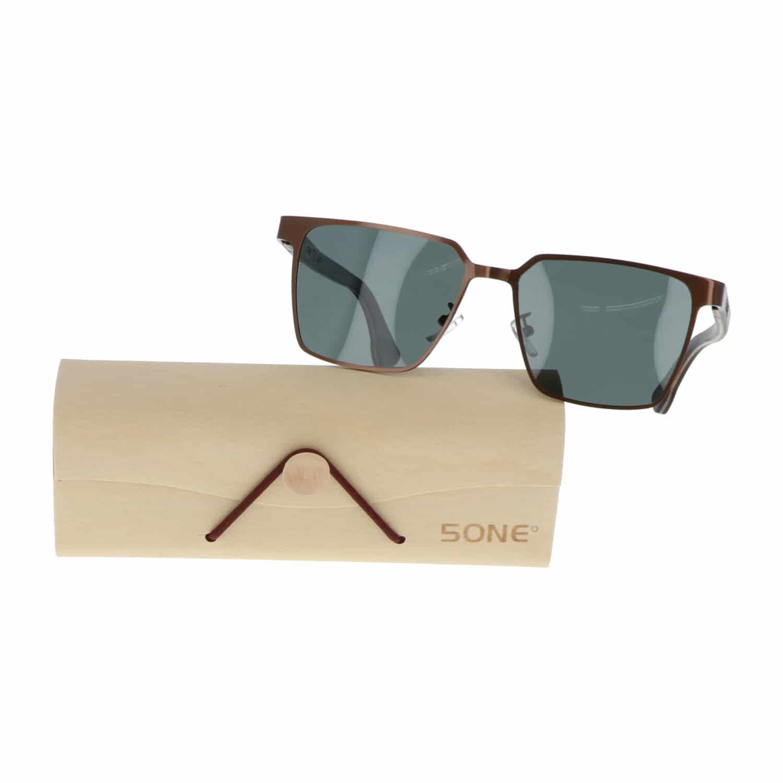 5one® Napoli Square Green - Zonnebril met houten poten - G15 lens