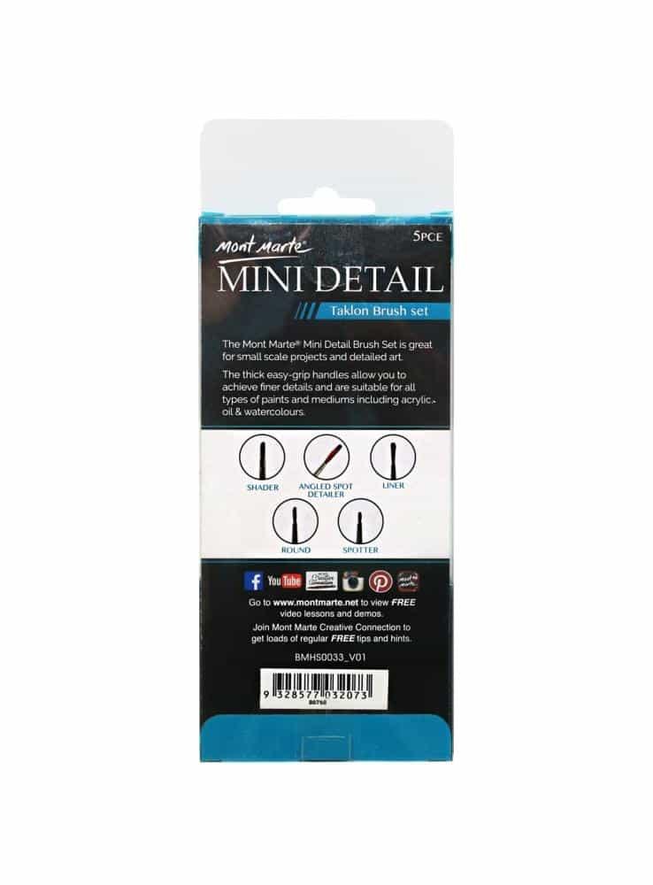 Mont Marte® 5-delige mini Detail Penselen set - Taklon penselen