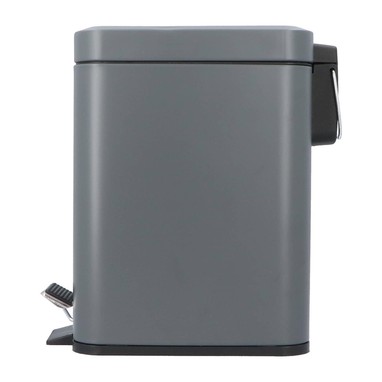 4goodz Pedaalemmer Rechthoekig metaal 5 liter - 28x14x30 cm - Grijs