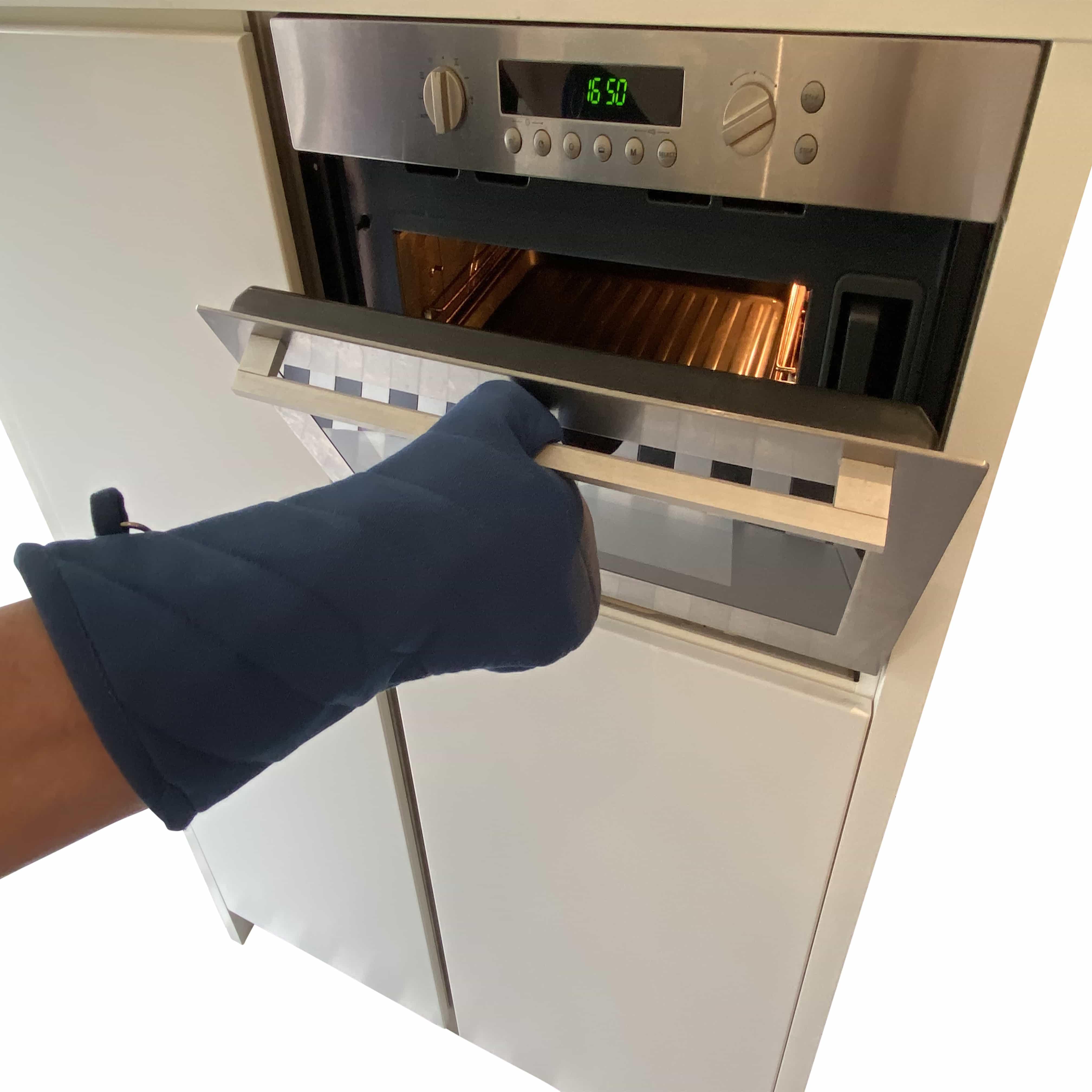 4cookz® katoenen Oven/bbq Handschoen Blauw met extra lange mouw