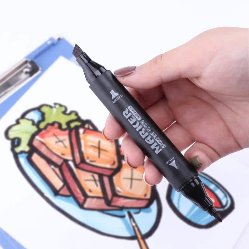 4artz® 120-delige Dual Markerset in draagtas - duo stiften penseelpunt