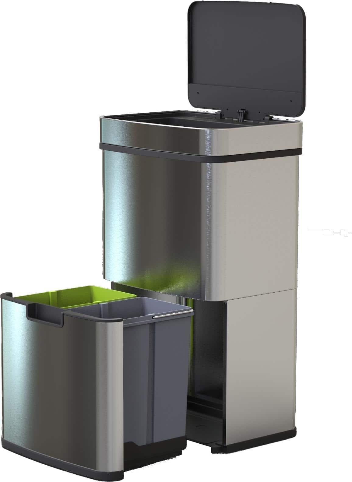 4cookz® Smart Waste RVS afvalscheidingsprullenbak met sensor – 72 liter