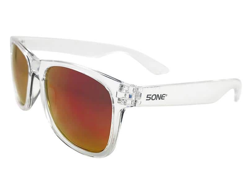 5one® Crystal Red zonnebril - transparant frame - rode spiegellens