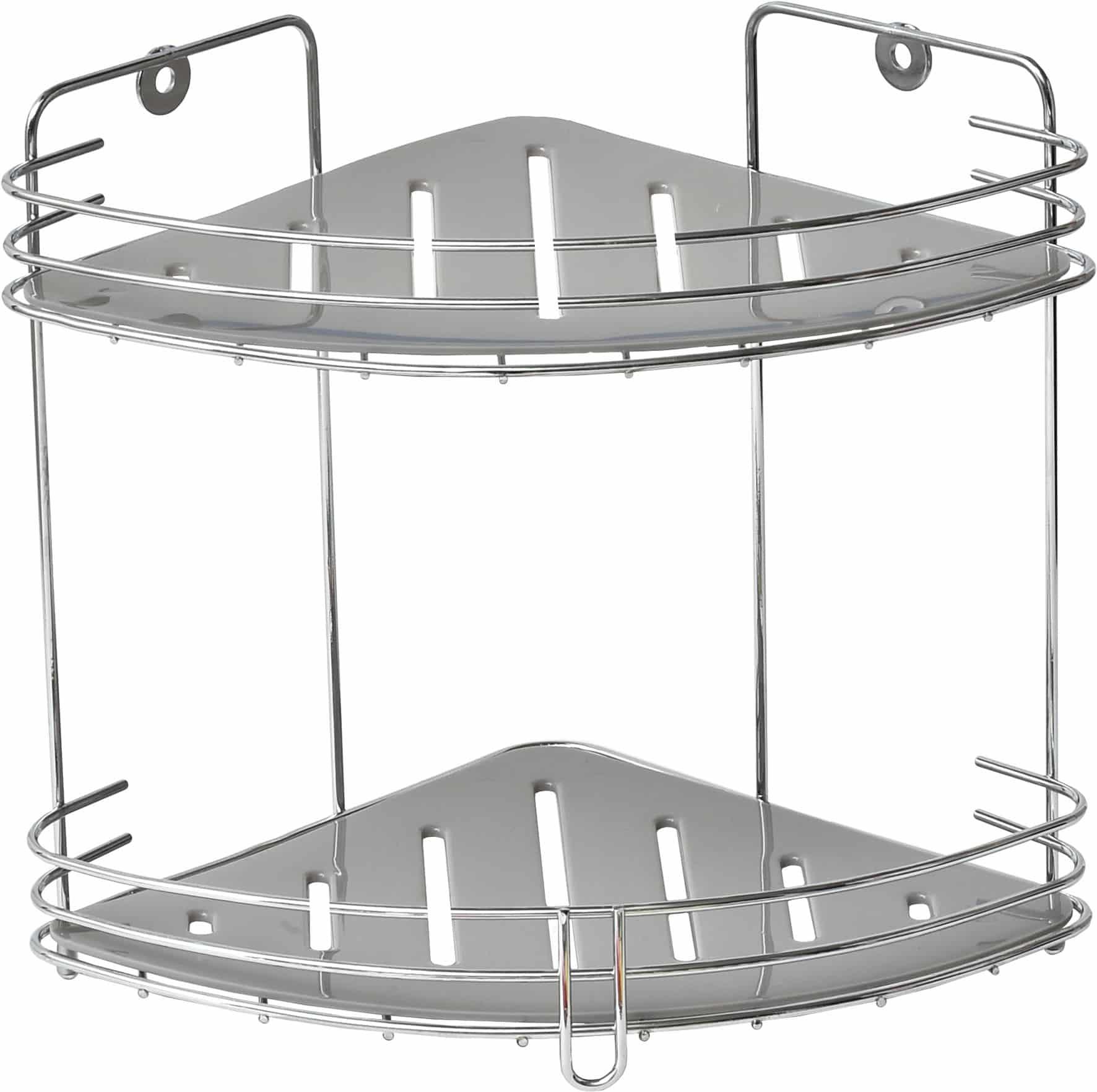 2-laags metalen doucherek hangend hoekmodel - Chroom/grijs