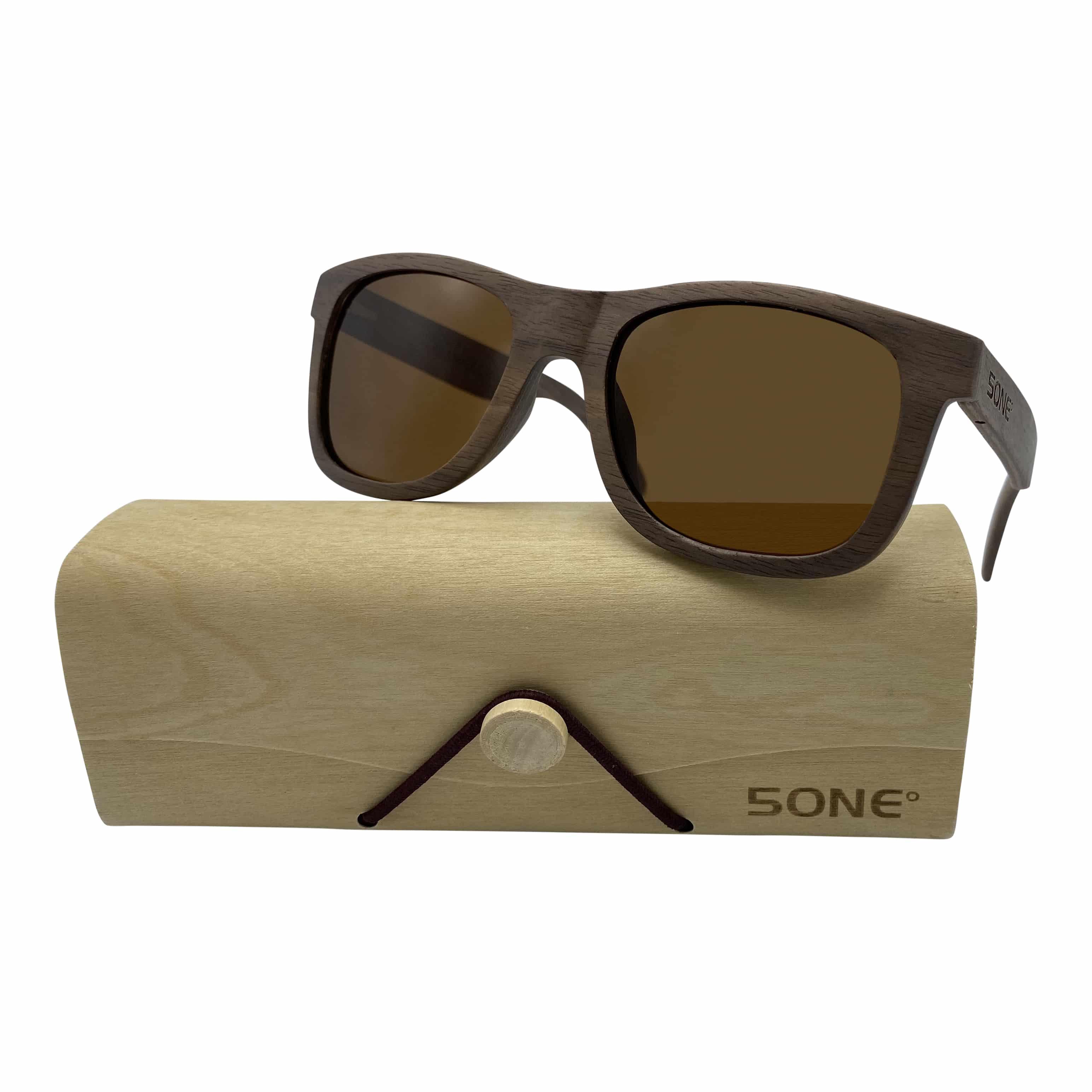 5one® wayfarer 2.0 walnut brown - Walnoot houten Zonnebril - Bruin