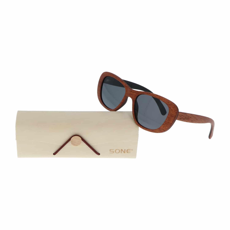 5one® Siena Brown - Sapeli houten dames zonnebril met grijze lens