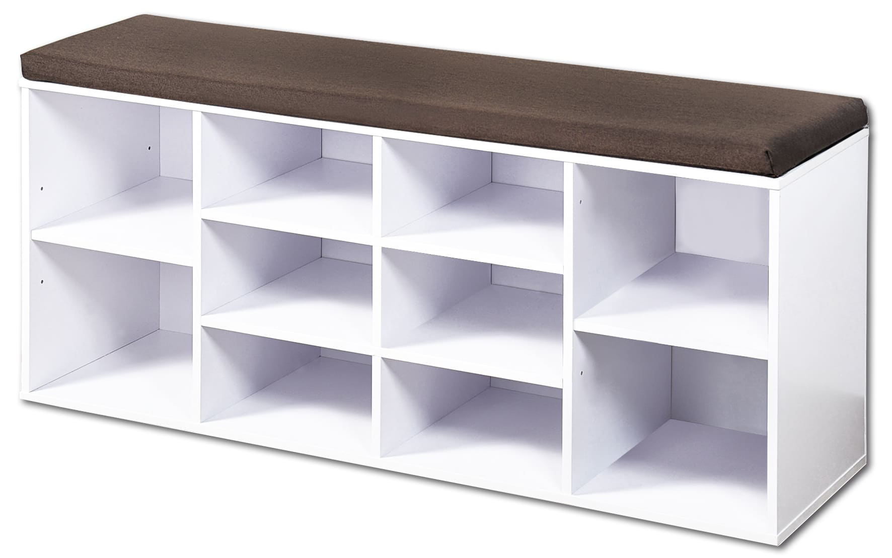 4goodz Schoenenbank met kussen 103x29,5x48 cm - 10 vaks - Wit