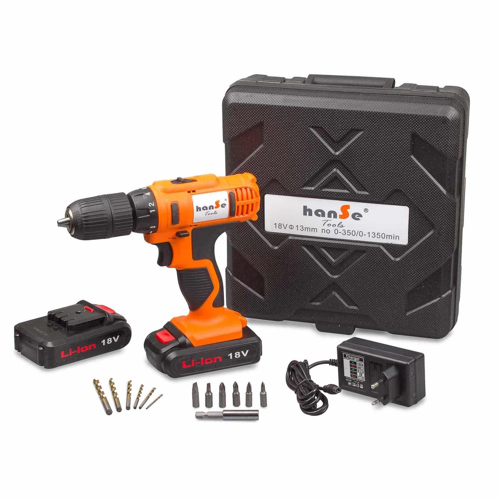 Hanse® Werkzeuge Lithium Accuboor 18V met 2 accu's - koffer - 1,5Ah