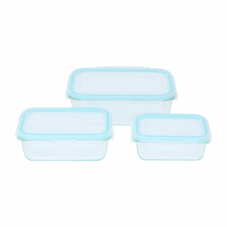 4Goodz 3-delige set Voorraadschalen Glas met deksel - Rechthoekig