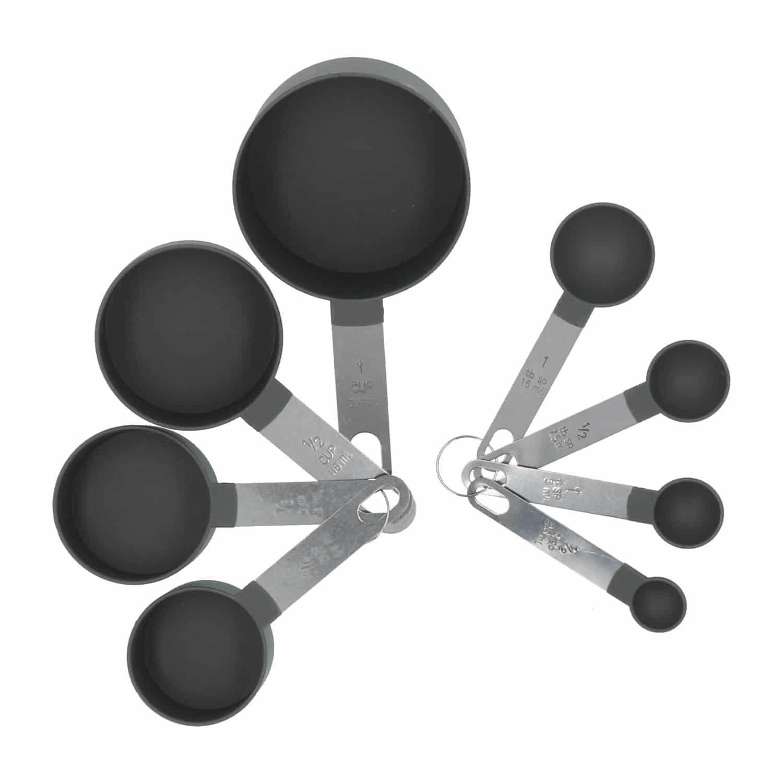 4goodz 8 delige maatcups en maatlepelset - Grijs