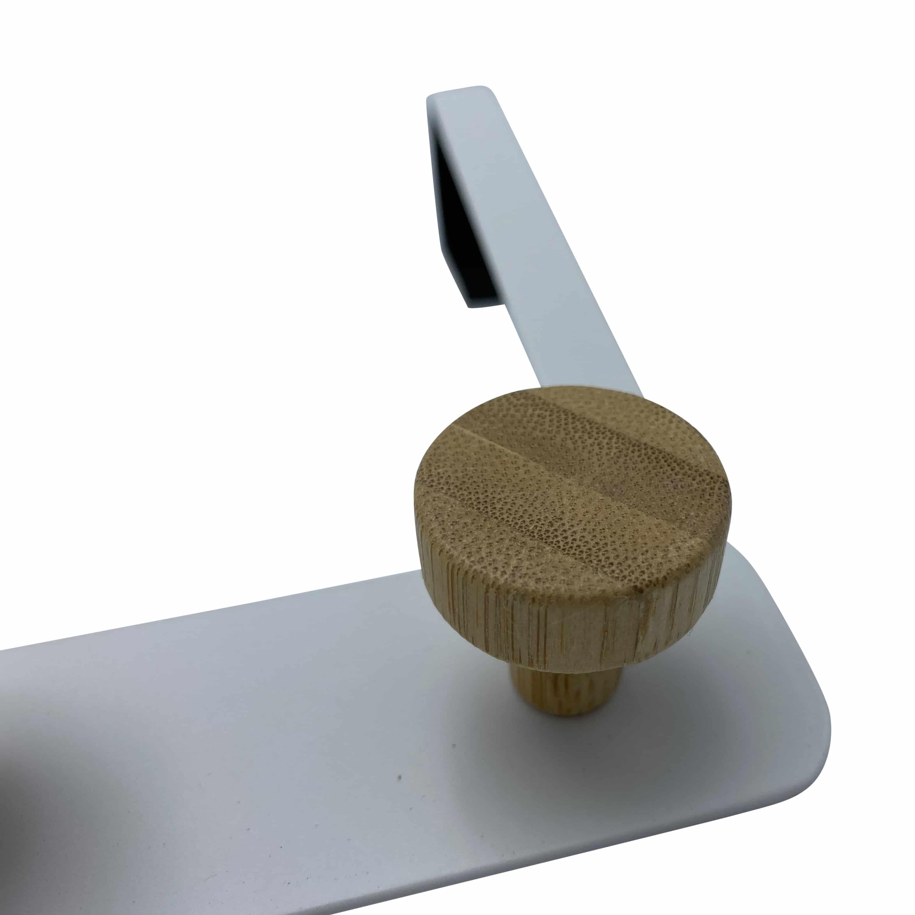 4goodz Deurkapstok Metaal met bamboe knoppen - 33x5x20cm - Wit