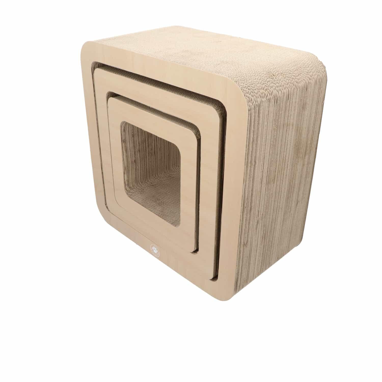 4animalz® Cube Beech - kartonnen krabpaal katten - 45x24x45cm - Bruin