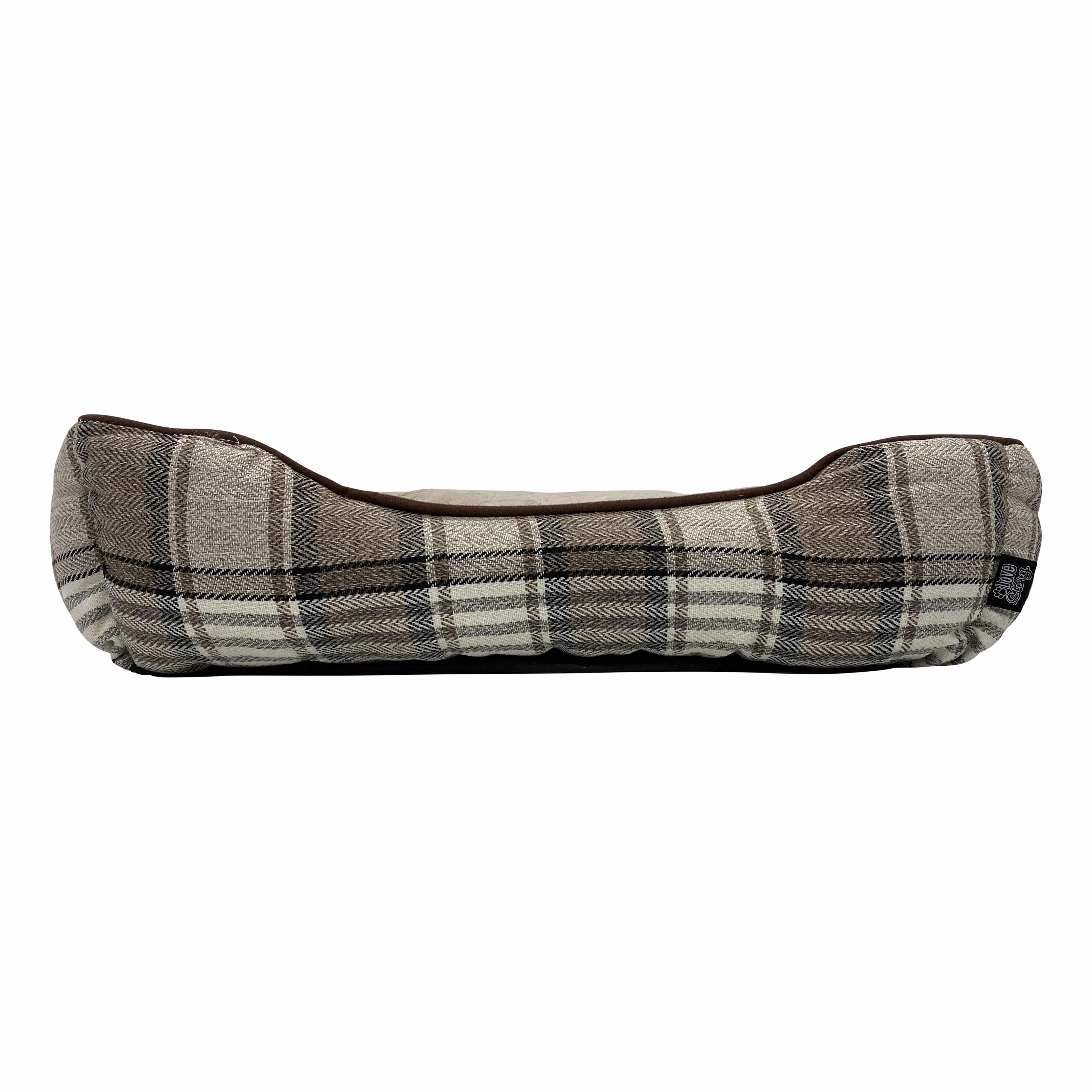 4Goodz hondenmand rechthoekig schotse ruit - 65x52 cm - Taupe