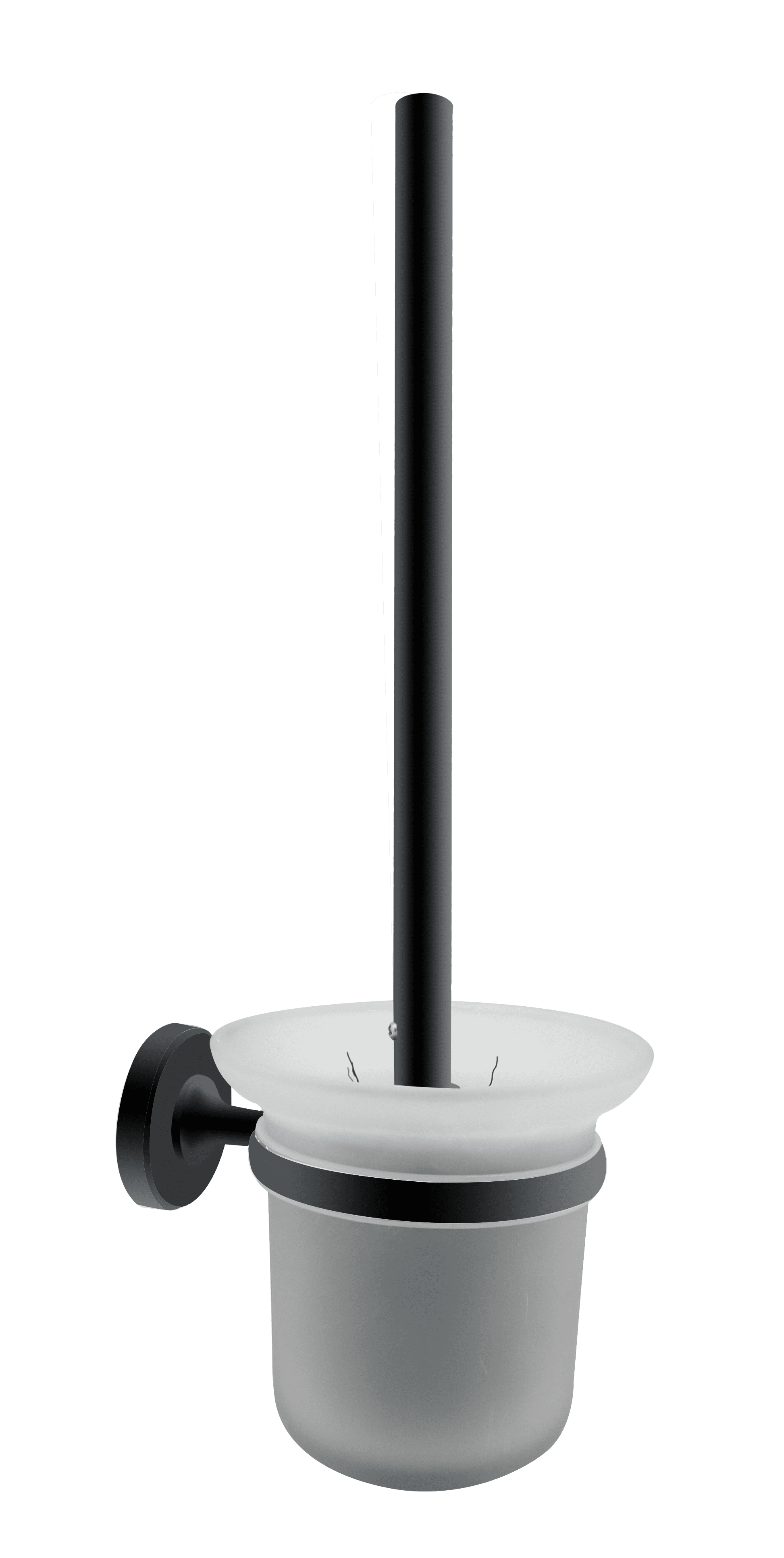 4bathroomz® Oslo Glazen Toiletborstel met wand houder - Zwart