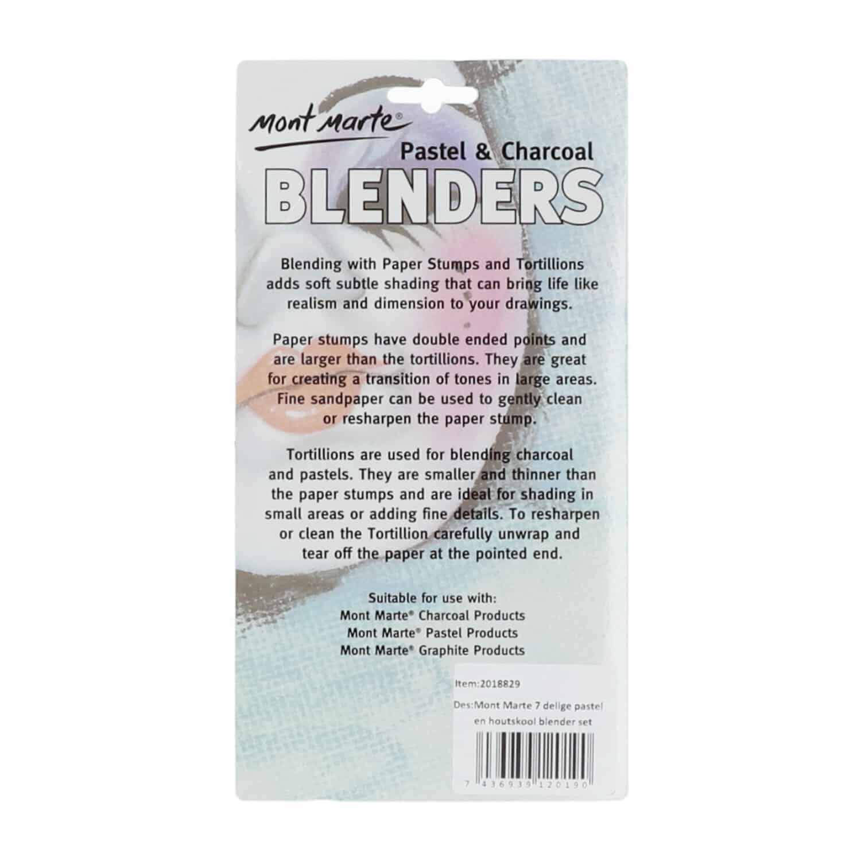 Mont Marte® 7-delige doezelaar set - pastel en houtskool blender set