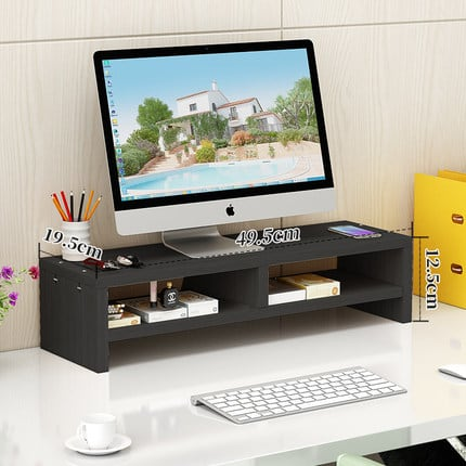4offiz Monitorstandaard Beeldscherm Verhoger 19,5x49,5x12,5 cm - zwart