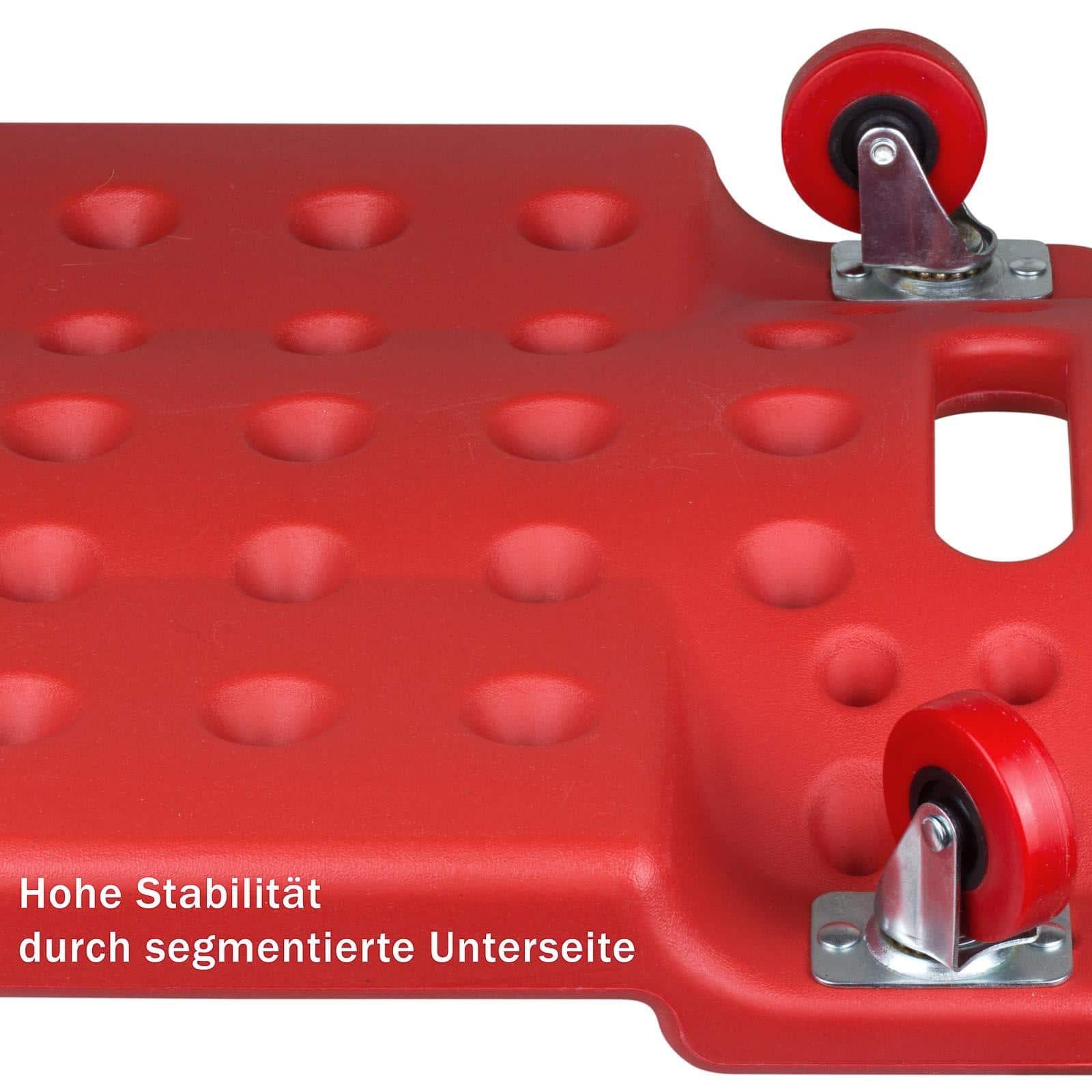 Verrijdbare garage Ligkar - Monteurskar - Rood - 6 zwenkwielen 75mm