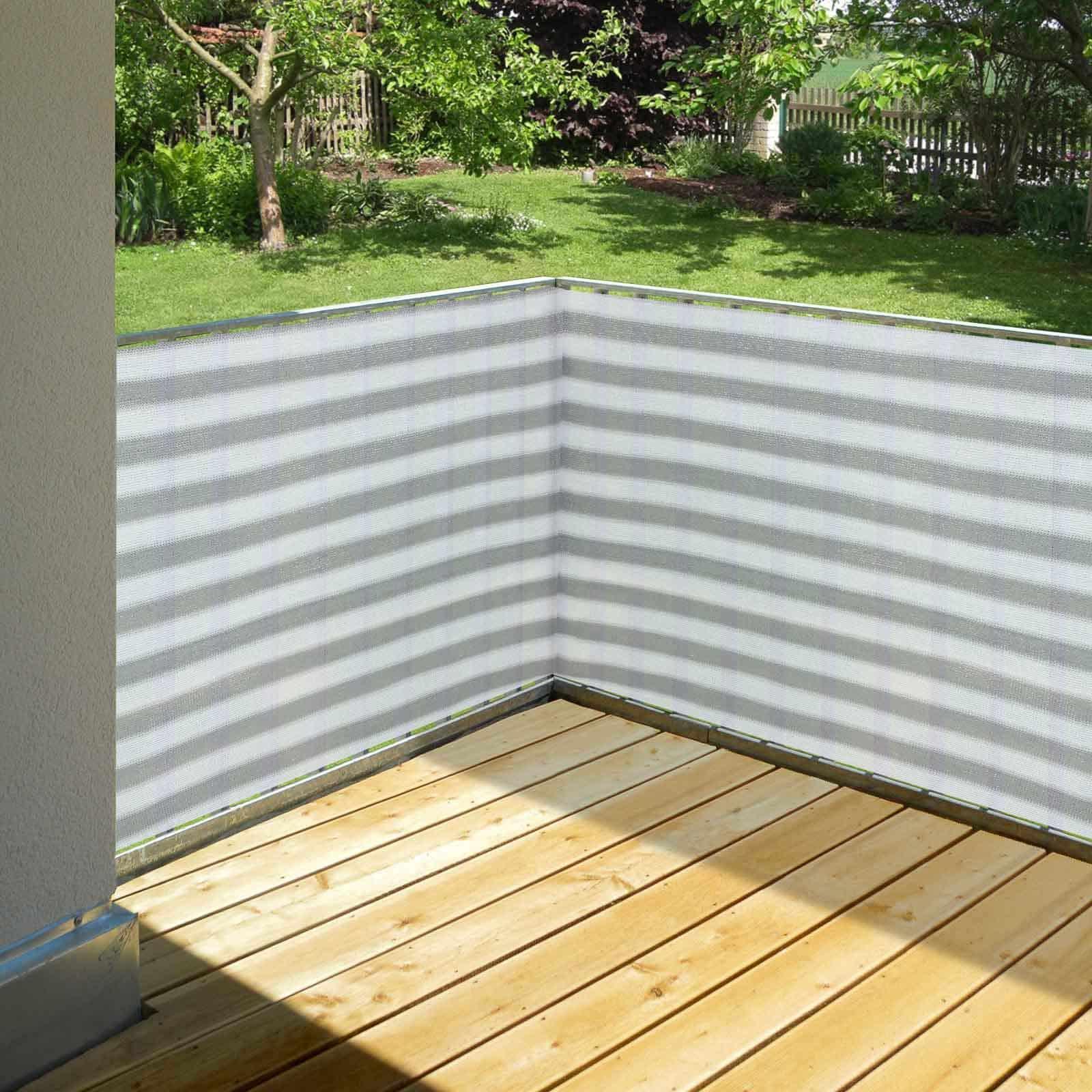 Hanse® Duurzaam Balkonscherm - Kleur Geel/Wit - Balkondoek - 500x90cm