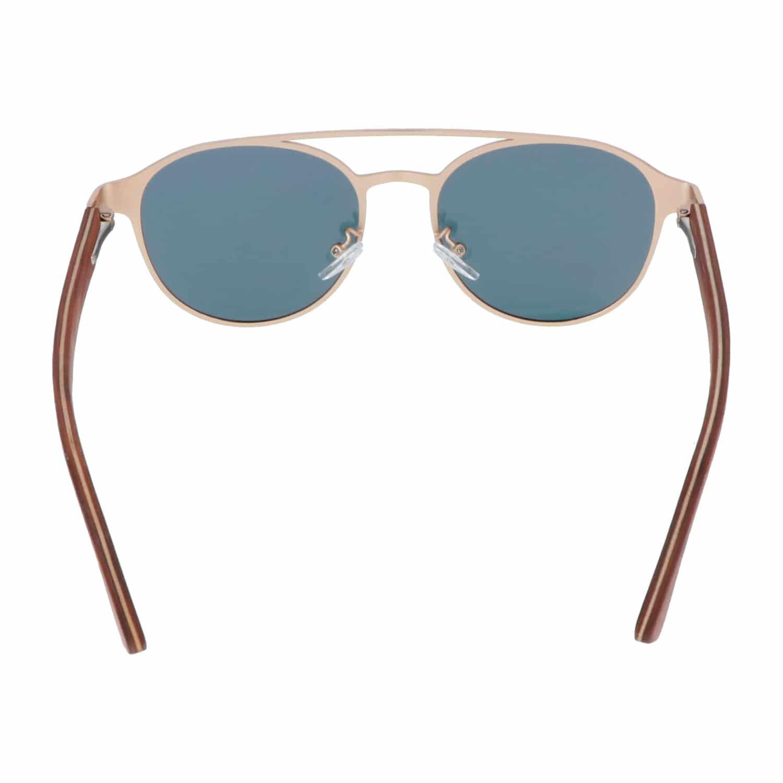 5one® Amalfi Clubmaster 2.0 - Zonnebril met houten poten - lens Goud