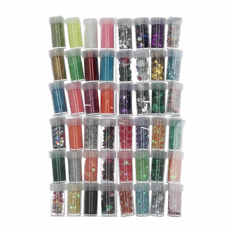 4artz® set nr. 2 met 48 verschillende soorten flesjes chunkly glitter