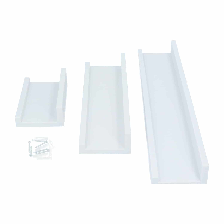 4goodz 3-delige Zwevende Wandplanken set - 45/30/15 x 10 cm - Wit