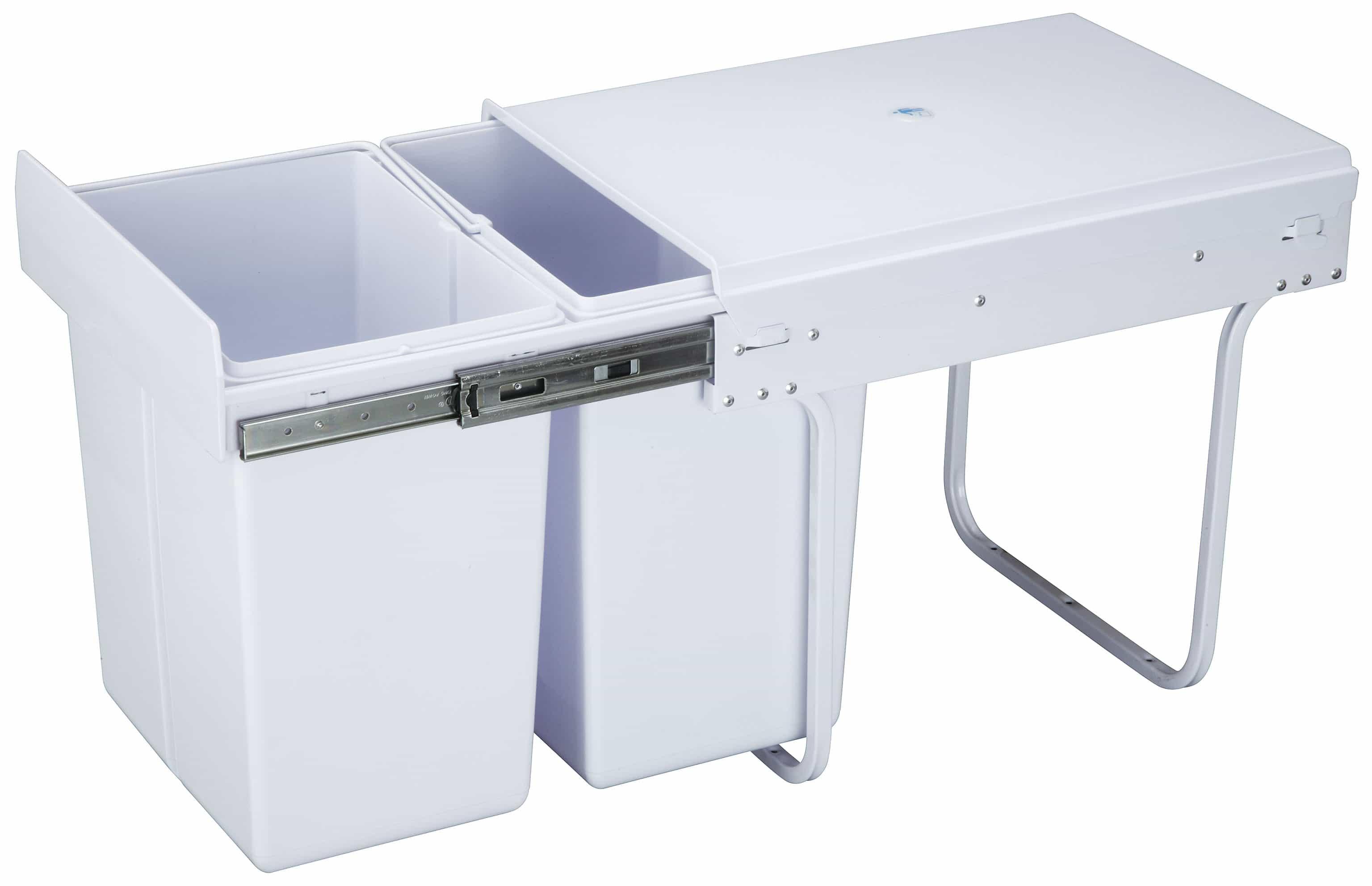 4cookz® inbouw afvalscheidingsprullenbak 10+20 liter - 30cm breed - Wit