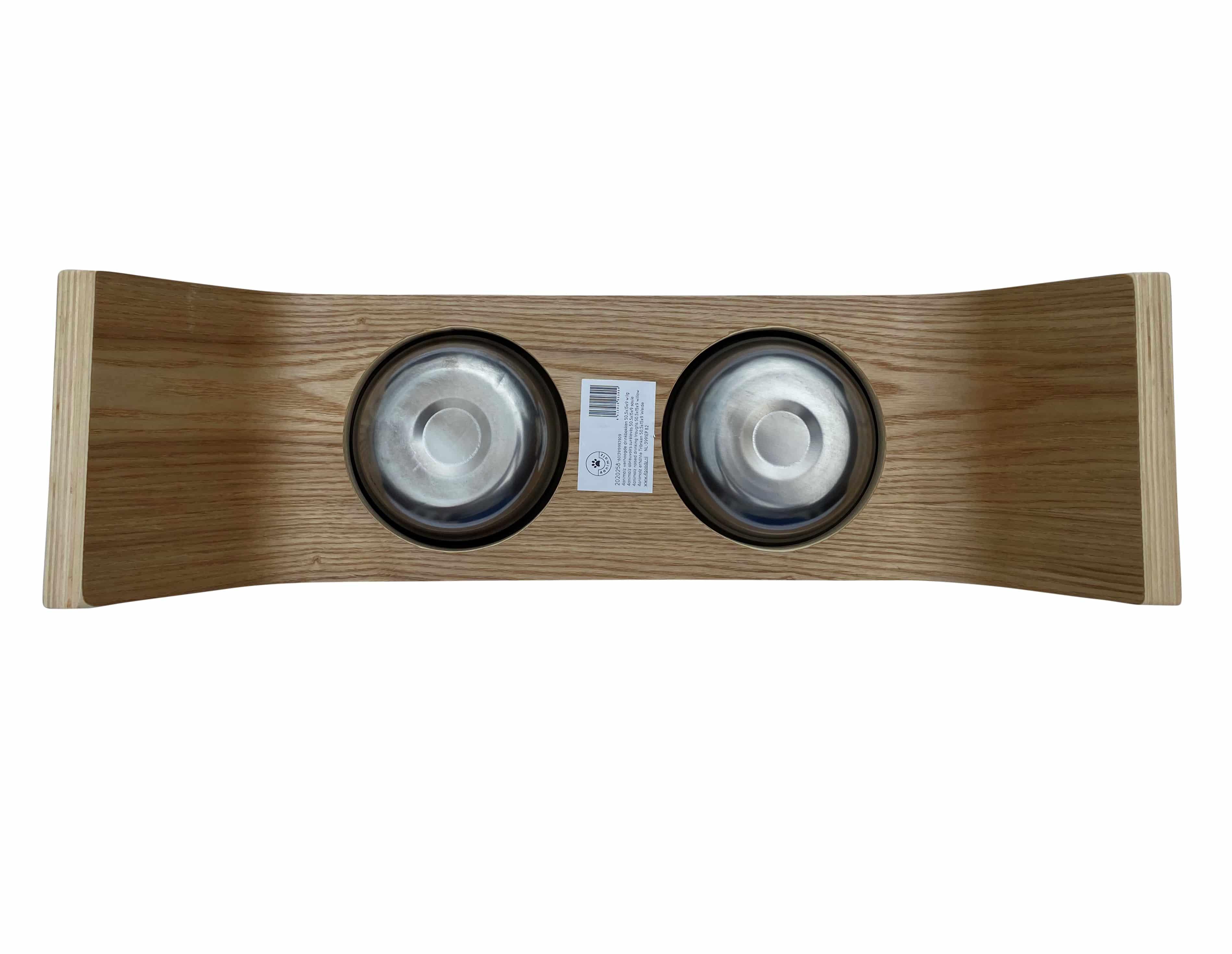 4animalz® Design Voerbak 50,5x15x9 van Wilgenhout