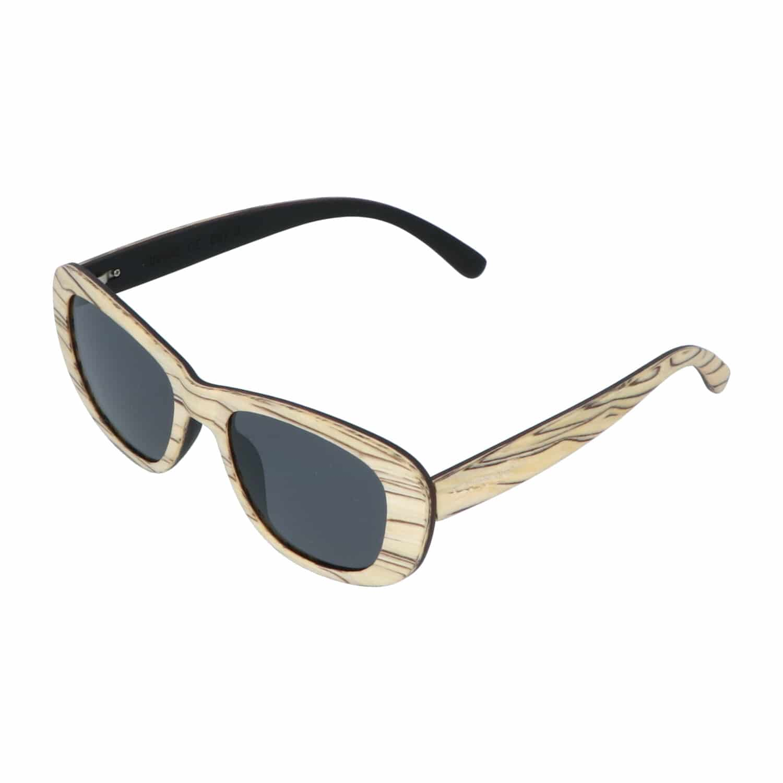 5one® Siena White striped - houten dames zonnebril met grijze lens