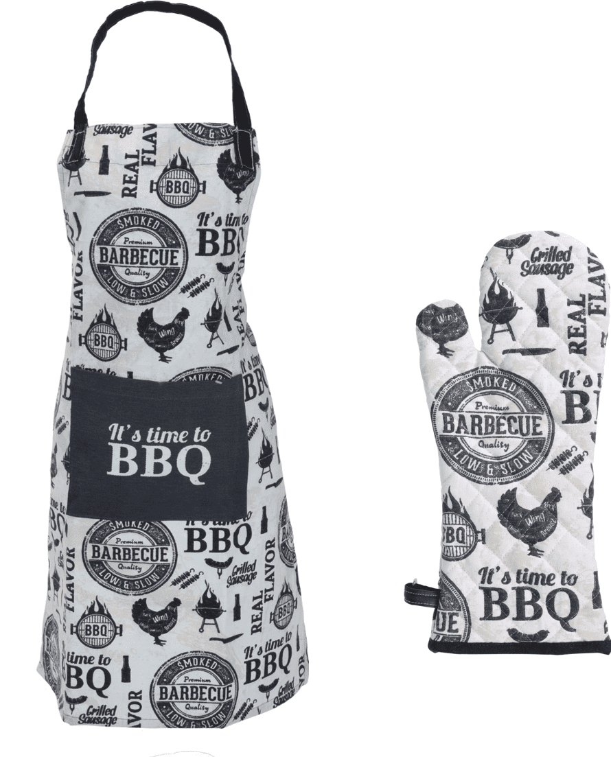 4cookz® BBQ set katoenen schort + handschoen Wit