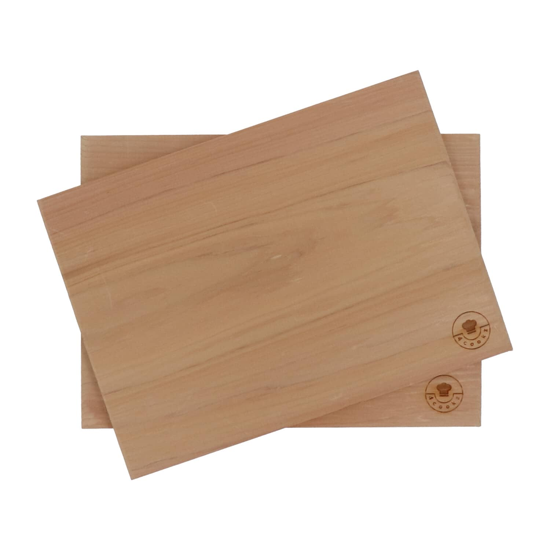 4cookz® 2 stuks rookplank BBQ - cederhout - 19x26cm