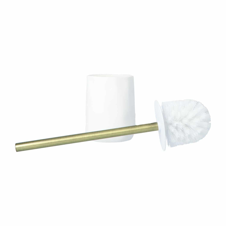 4goodz Toiletborstel polyresin Asian 9,5x40cm - wit/goud