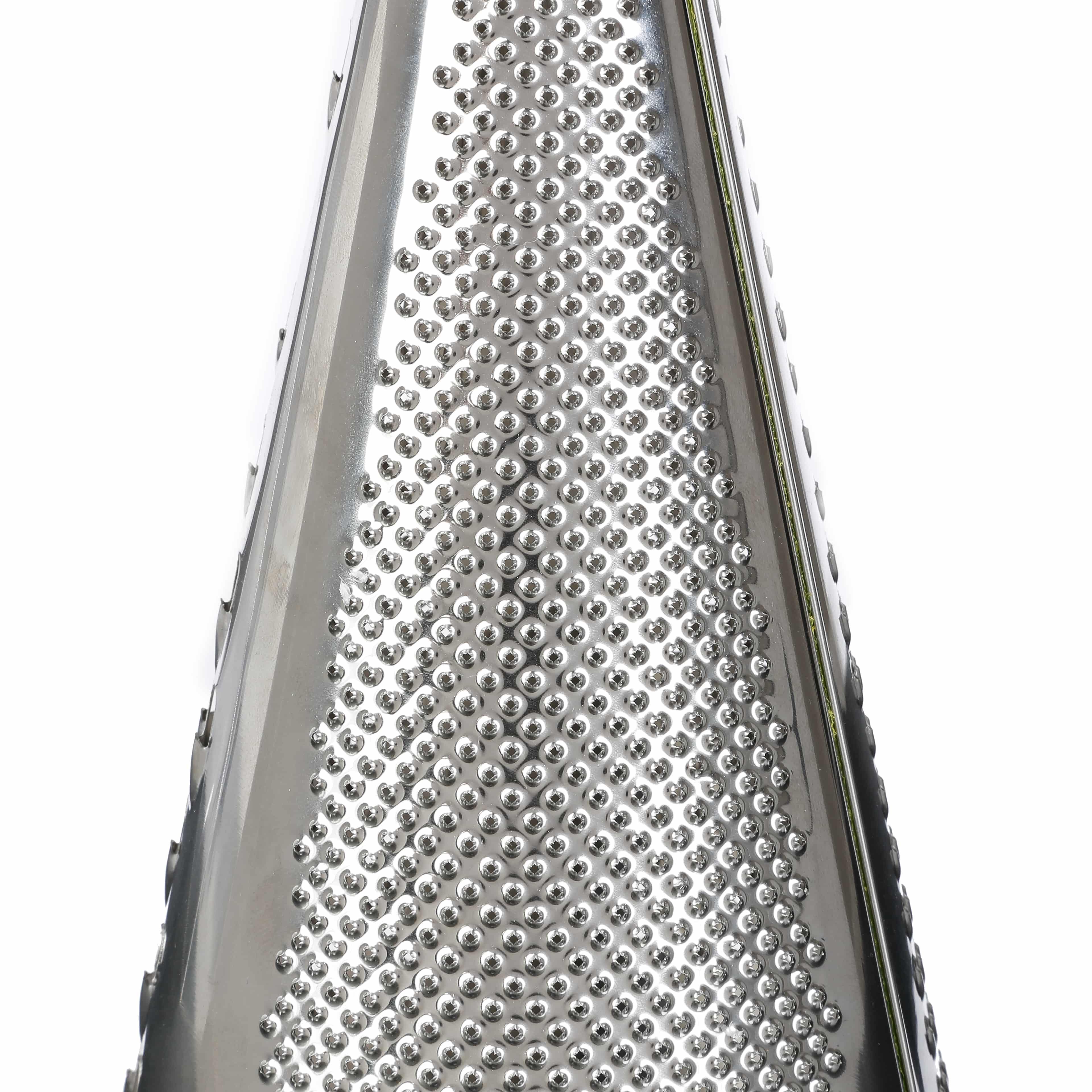 4goodz Tafelrasp met 3 grofheden RVS/acacia 13x34 cm - Zilver/Bruin