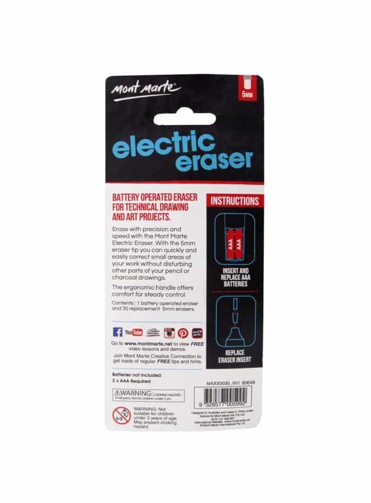 Mont Marte® elektrische gum met 30 reserve gummetjes