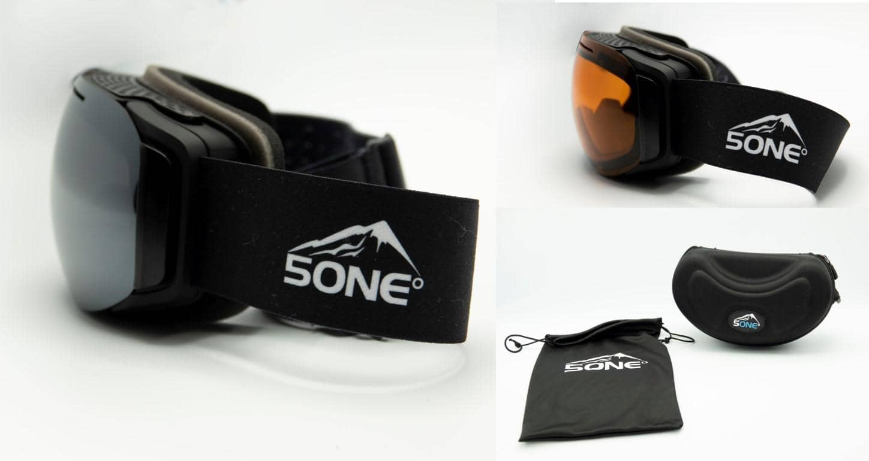5one® Alpine 7 - skibril - 2 verwisselbare lenzen - Oranje en Grijs