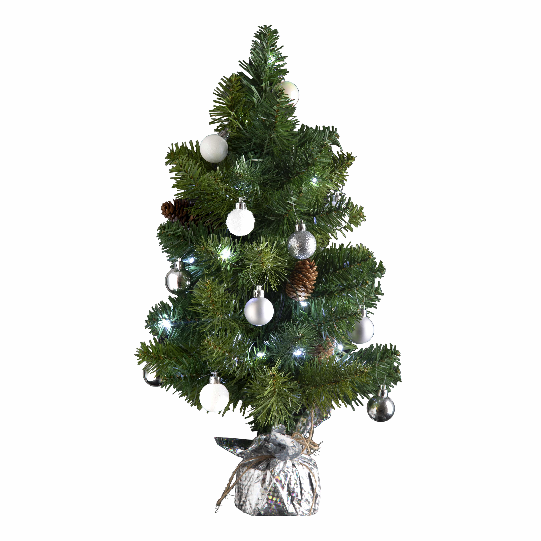 4goodz kunstkerstboom met licht en versiering 50cm hoog - Zilver/Wit