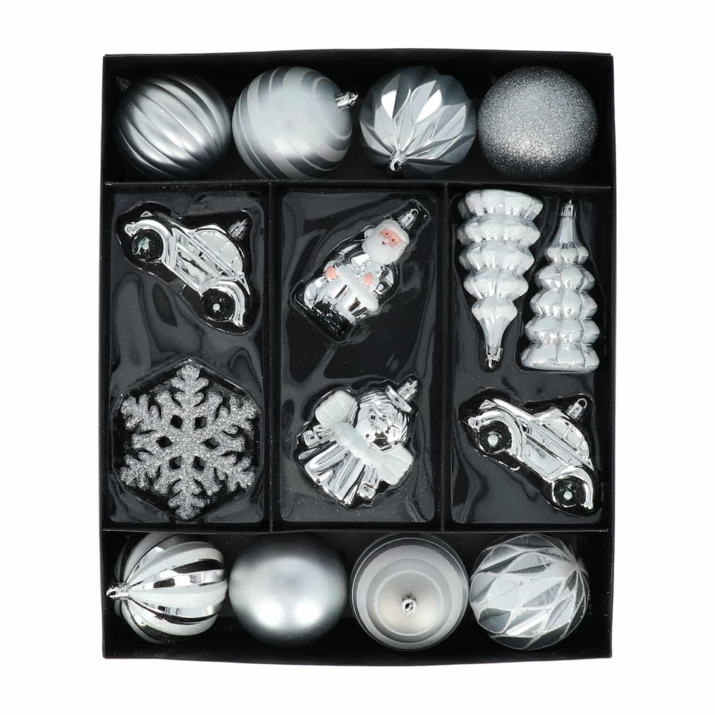 4goodz 20-delige Decoratieve Kerstballenset Zilver - binnen/buiten
