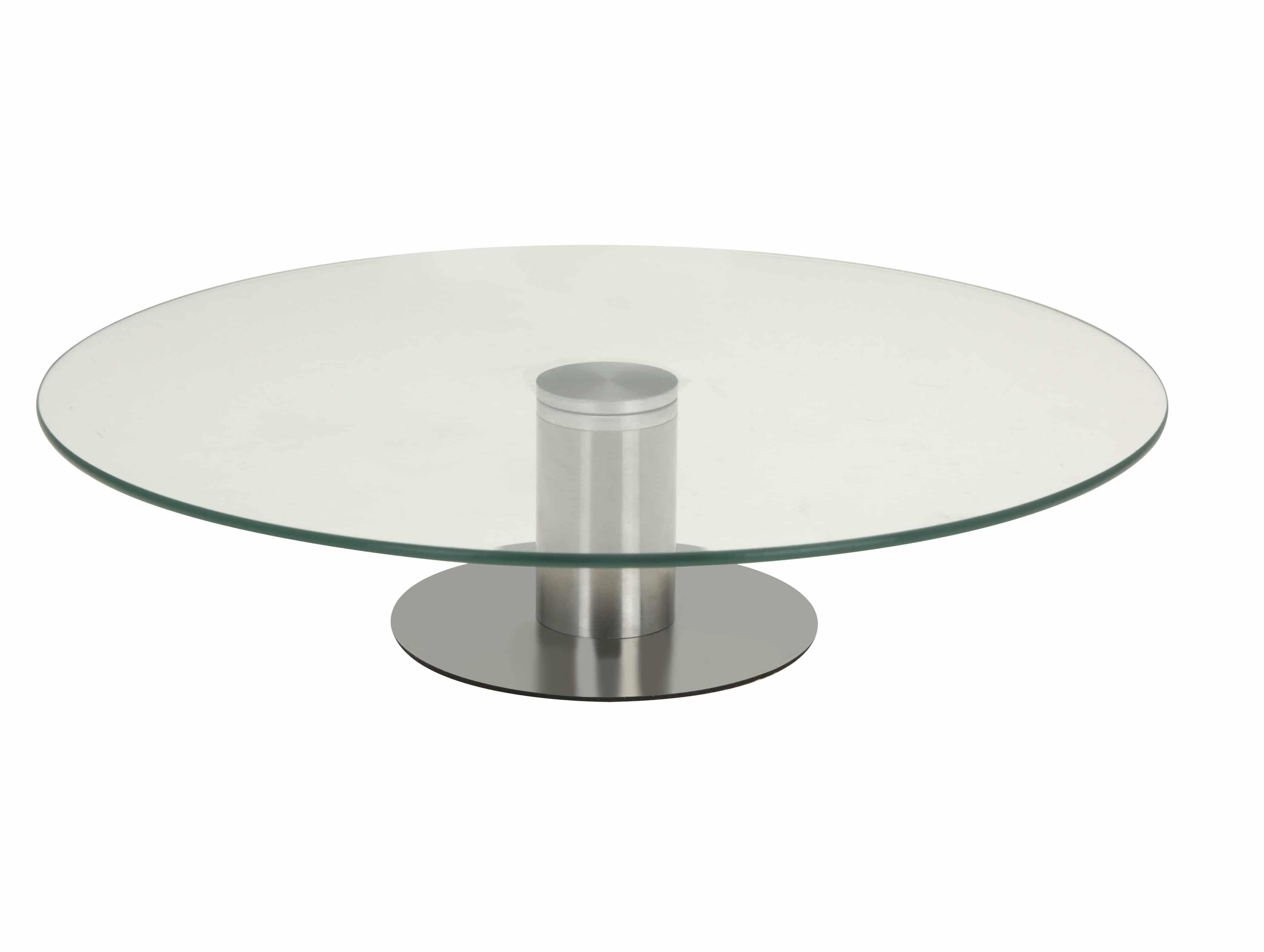 4Goodz Draaibaar Taartplateau van glas met RVS voet - 30 cm doorsnede